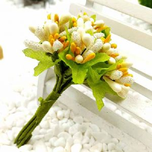Mini Bouquet Flower Stamen - Small Glass Head, Cream colour, 10 p15ieces, Long 9cm, [ST1131]